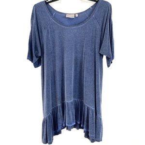 DANTELLE Blue Oil Dye Cold Shoulder Ruffle Hem Top